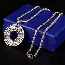 Load image into Gallery viewer, ENXICO Rune Letter Circle Pendant Necklace ? Nordic Scandinavian Viking Jewelry