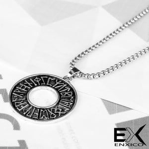 ENXICO Rune Letter Circle Pendant Necklace ? Nordic Scandinavian Viking Jewelry