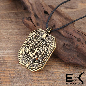 ENXICO Shield Amulet Pendant Necklace with Yggdrasil Tree of Life Pattern ? Gold Color ? Norse Scandinavia Viking Jewelry