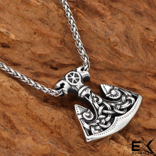 Load image into Gallery viewer, ENXICO Slavic Axe of Perun Amulet Pendant Necklace with Celtic Knot Patterns ? 316L Stainless Steel ? Ancient Slavs Jewelry