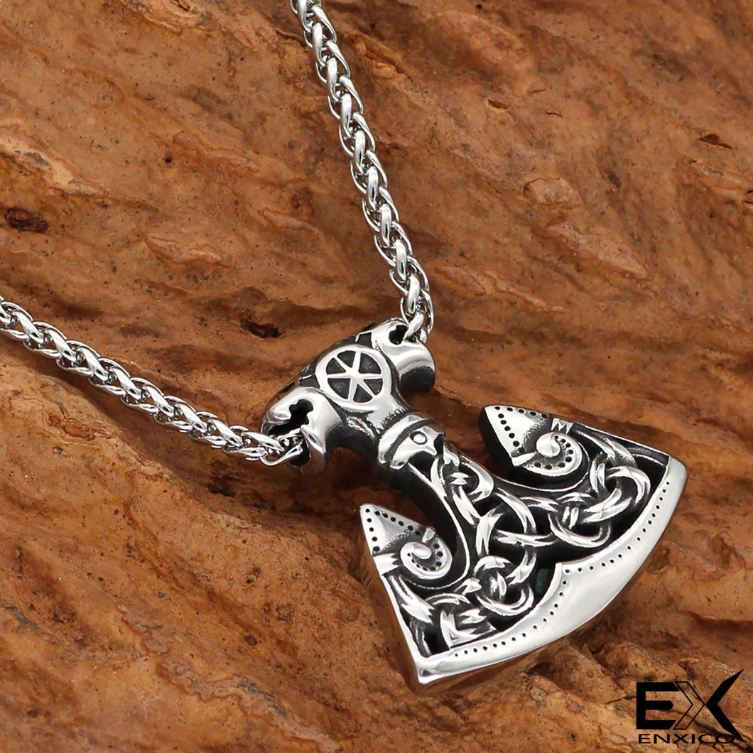 ENXICO Slavic Axe of Perun Amulet Pendant Necklace with Celtic Knot Patterns ? 316L Stainless Steel ? Ancient Slavs Jewelry