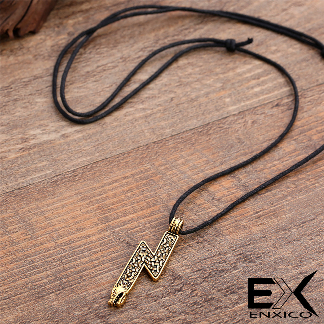 ENXICO Sowilo Younger Futhark Rune Sol Amulet Pendant Necklace with Wolf Head and Celtic Knot Pattern ? Gold Color ? Norse Scandinavian Viking Jewelry