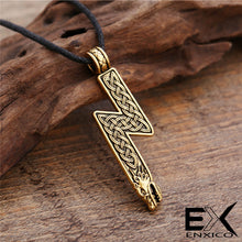 Load image into Gallery viewer, ENXICO Sowilo Younger Futhark Rune Sol Amulet Pendant Necklace with Wolf Head and Celtic Knot Pattern ? Gold Color ? Norse Scandinavian Viking Jewelry