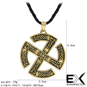 ENXICO Sun Cross Pendant Necklace with Celtic Knots Pattern ? Silver Color ? Nordic Scandinavian Viking Jewelry