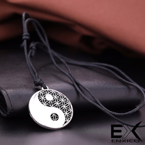 ENXICO Tai Chi with Flower Pattern Amulet Pendant Necklace