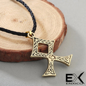 ENXICO The Elder Futhark Odal Rune Othala Pendant Necklace with Celtic Knot Pattern ? Gold Color ? Norse Scandinavia Viking Jewelry