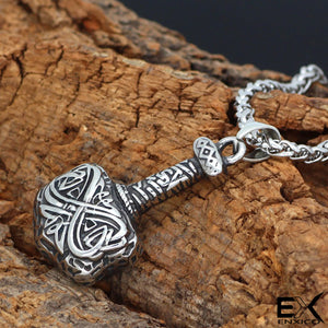 ENXICO Thor's Hammer Pendant Necklace ? 316L Stainless Steel ? Nordic Scandinavian Viking Jewelry