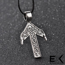 Load image into Gallery viewer, ENXICO Tiwaz Tyr Rune Pendant Necklace with Celtic Knot and Raven Head Pattern ? Nordic Scandinavian Viking Jewelry