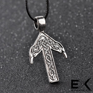 ENXICO Tiwaz Tyr Rune Pendant Necklace with Celtic Knot and Raven Head Pattern ? Nordic Scandinavian Viking Jewelry