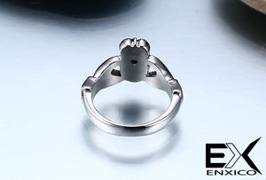 ENXICO Traditional Caddagh Heart Ring for Women ? 316L Stainless Steel ? Irish Celtic Jewelry