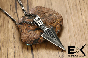 ENXICO Tribal Spearhead Symbol Pendant Necklace ? 316L Stainless Steel ? Tribal Style Jewelry