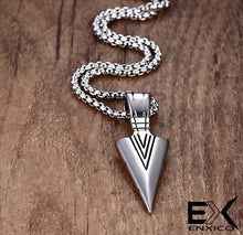 Load image into Gallery viewer, ENXICO Tribal Spearhead Symbol Pendant Necklace ? 316L Stainless Steel ? Tribal Style Jewelry (Gold)