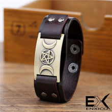 Load image into Gallery viewer, ENXICO Triple Moon Goddess Amulet Leather Bangle Bracelet ? Wicca Pagan Witchcraft Jewelry ? Black + Bronze Color