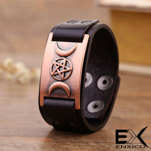 ENXICO Triple Moon Goddess Amulet Leather Bangle Bracelet ? Wicca Pagan Witchcraft Jewelry ? Black + Bronze Color