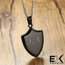 Load image into Gallery viewer, ENXICO Triple Moon Goodess Shield Amulet Pendant Necklace ? 316L Stainless Steel ? Wicca Pagan Witchcraft Jewelry