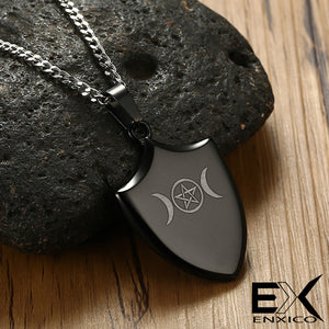 ENXICO Triple Moon Goodess Shield Amulet Pendant Necklace ? 316L Stainless Steel ? Wicca Pagan Witchcraft Jewelry