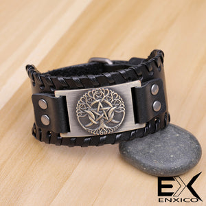 ENXICO Triple Moon Goddess with Tree of Life Amulet Leather Bangle Bracelet ? Wicca Pagan Witchcraft Jewelry ? Copper Color