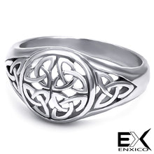 Load image into Gallery viewer, ENXICO Triquetra The Trinity Celtic Knot Ring ? Silver Color ? 316L Stainless Steel ? Irish Celtic Jewelry