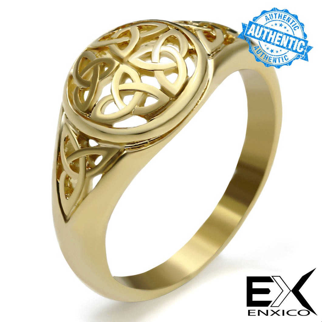 ENXICO Triquetra The Trinity Celtic Knot Ring ? Gold Color ? 316L Stainless Steel ? Irish Celtic Jewelry