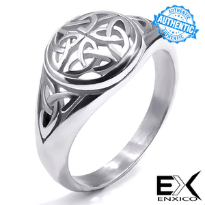 ENXICO Triquetra The Trinity Celtic Knot Ring ? Silver Color ? 316L Stainless Steel ? Irish Celtic Jewelry