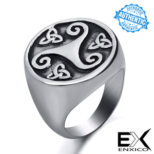 ENXICO Triskele Ring with Triquetra The Trinity Celtic Knot Pattern ? Silver Color ? 316L Stainless Steel ? Irish Celtic Jewelry