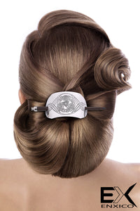 ENXICO Triskele Spiral Hairpin with Celtic Knot Pattern ? Silver Color ? Irish Celtic Hair Accessory for Women