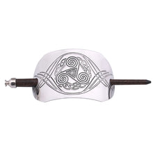 Load image into Gallery viewer, ENXICO Triskele Spiral Hairpin with Celtic Knot Pattern ? Silver Color ? Irish Celtic Hair Accessory for Women