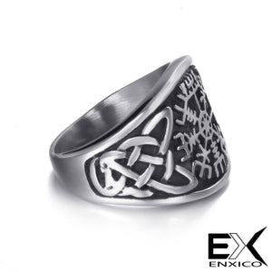 ENXICO Vegvisir Runic Compass Ring with Celtic Knot Pattern ? 316L Stainless Steel ? Irish Celtic Jewelry