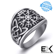 Load image into Gallery viewer, ENXICO Vegvisir Runic Compass Ring with Celtic Knot Pattern ? 316L Stainless Steel ? Irish Celtic Jewelry