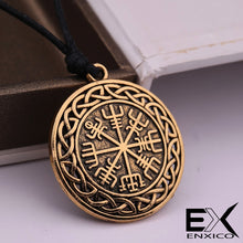 Load image into Gallery viewer, ENXICO Vegvisir Viking Compass Pendant Necklace with Celtic Knot Circle Surrounding ? Bronze Color ? Nordic Scandinavian Viking Jewelry