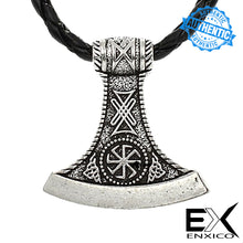 Load image into Gallery viewer, ENXICO Viking Axe Head Amulet Pendant Necklace for Men ? Silver Color ? Norse Scandinavian Viking Jewelry