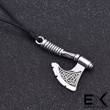 Load image into Gallery viewer, ENXICO Viking Battle Axe Pendant Necklace with Celtic Knot Pattern on Axe Head ? Nordic Scandinavian Viking Jewelry
