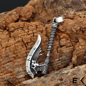 ENXICO Viking Giant Battle Axe Pendant Necklace ? 316L Stainless Steel ? Nordic Scandinavian Viking Jewelry