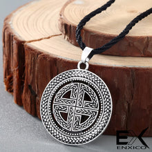 Load image into Gallery viewer, ENXICO Viking Shield Pendant Necklace with Celtic Knot Pattern ? Norse Scandinavian Viking Jewelry