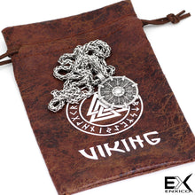 Load image into Gallery viewer, ENXICO Viking Shield Pendant with Aegishjalmur Helm of Awe Pattern Pendant Necklace ? 316L Stainless Steel ? Nordic Scandinavian Viking Jewelry