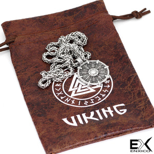 ENXICO Viking Shield Pendant with Aegishjalmur Helm of Awe Pattern Pendant Necklace ? 316L Stainless Steel ? Nordic Scandinavian Viking Jewelry