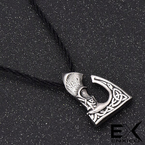 ENXICO Viking Short Handle Axe Amulet Pendant Necklace with Celtic Knot Pattern ? Silver Color ? Norse Scandinavian Viking Jewelry