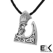 Load image into Gallery viewer, ENXICO Viking Short Handle Axe Amulet Pendant Necklace with Celtic Knot Pattern ? Silver Color ? Norse Scandinavian Viking Jewelry