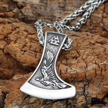 Load image into Gallery viewer, ENXICO Wolf and Raven Axe Head Pendant Necklace ? 316L Stainless Steel ? 316L Stainless Steel ? Nordic Scandinavian Viking Jewelry