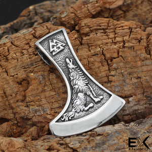 ENXICO Wolf and Raven Axe Head Pendant Necklace ? 316L Stainless Steel ? 316L Stainless Steel ? Nordic Scandinavian Viking Jewelry