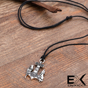 ENXICO Wolf and Raven Mjolnir Thor's Hammer Pendant Necklace ? Gold Color ? Nordic Scandinavian Viking Jewelry