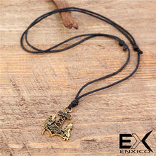 Load image into Gallery viewer, ENXICO Wolf and Raven Mjolnir Thor's Hammer Pendant Necklace ? Gold Color ? Nordic Scandinavian Viking Jewelry