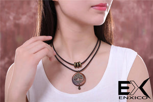 ENXICO Wooden Tree of Life Pendant Choker Necklace ? Vintage World Tree Jewelry for Women