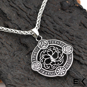 ENXICO Yggdrasil Tree of Life with Runic Circle Pendant Necklace ? 316L Stainless Steel ? Nordic Scandinavian Viking Jewelry