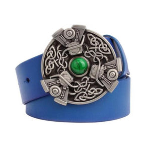 GUNGNEER Celtic Knot Trinity Irish Leather Bucket Belt Jewelry Accessories for Men Women
