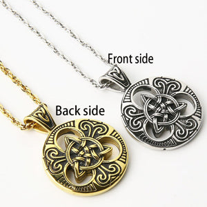 GUNGNEER Triquetra Celtic Knot Stainless Steel Necklace Opening Cuff Charm Bangles Jewelry Set