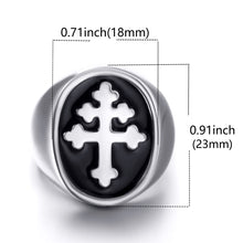 Load image into Gallery viewer, GUNGNEER Stainless Steel Inverted Cross Devil Skull Pendant Necklace Biker Ring Jewelry Set