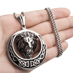 GUNGNEER Celtic Knot Lion Stainless Steel Trinity Pendant Necklace Jewelry