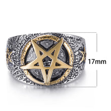 Load image into Gallery viewer, GUNGNEER Celtic Wicca Pentagram Stainless Steel Pendant Necklace Ring Jewelry Set Men Women