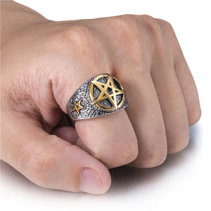 GUNGNEER Celtic Wicca Pentagram Stainless Steel Pendant Necklace Ring Jewelry Set Men Women